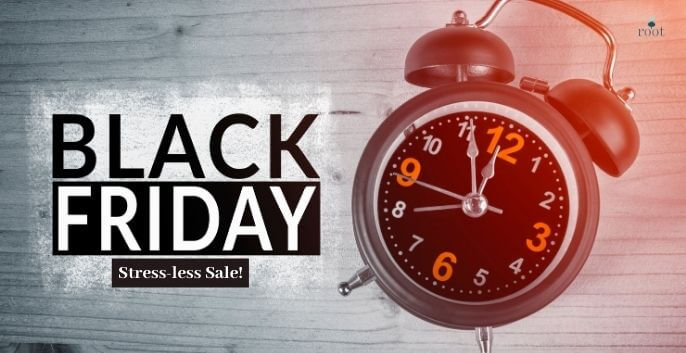 "Alarm clock with words ""Black Friday Stressless Sale"" 