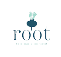 "Logo blue beet with words ""root nutrition & Education"""