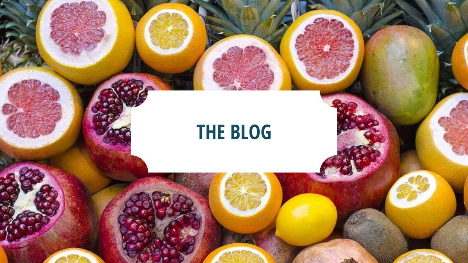 """fruit with words """"the blog"""" on a white background 