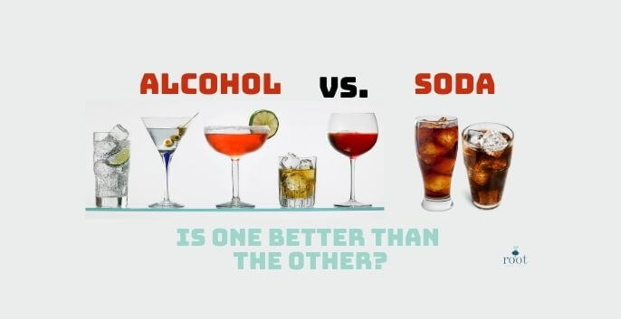 """Alcohol and Soda Drinks with words """"Alcohol vs Soda Is one Better than the other?"""" 