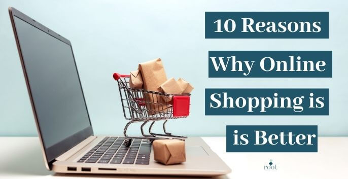 """Computer with little shopping cart and brown paper packages and the words """"10 Reasons Why Online Shopping is Better"""" 