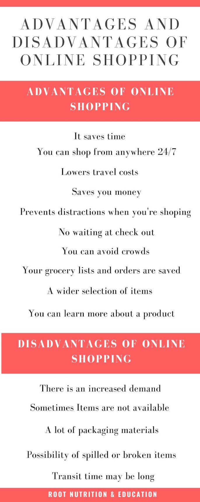 Advantages and Disadvantages of Online Shopping Infographic | Root Nutrition & Education