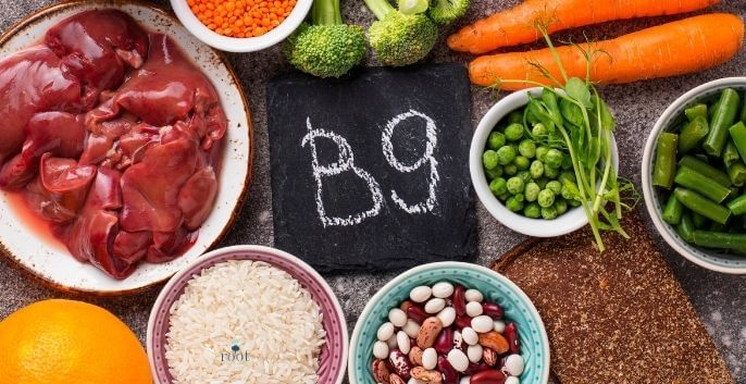 """Chalkboard with words """"B9"""" surrounded by b9 containing foods beef, peas, greens, beans, rice, carrots
