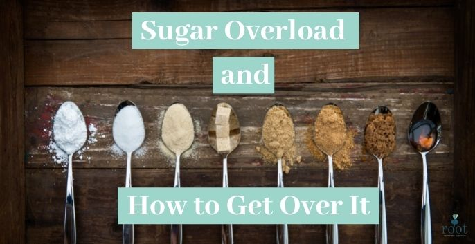 """A photo with spoons of sugar and the words """"Sugar overload and how to get over it 